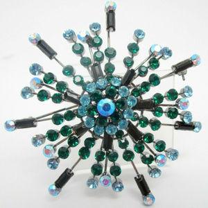 vintage Ab rhinestone starburst flower pin brooch